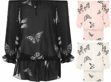 Plus Womens Butterfly Print Chiffon Off Shoulder Gypsy Boho Sheer Ladies Top