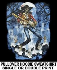 SKELETON ROCK N ROLL STAR SKULL GUITAR TOMBSTONE CEMETARY HOODIE SWEATSHIRT W146