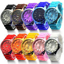 Quartz Sports Wrist Watch Gift Unisex Geneva Silicone Rubber Jelly Gel Fashion