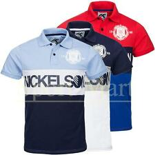 Mens Nickelson Printed Pique Polo Shirt Short Sleeve TShirt Buttoned Collar Top