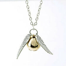 Chic Harry potter Golden Snitch Pendant Silver Double sided angel wings Necklace