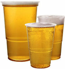100 x DISPOSABLE CLEAR STRONG PLASTIC FULL PINT BEER GLASSES CUPS BCP100