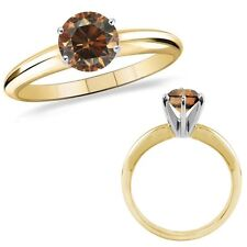 1.5 Carat Champagne Color Diamond Solitaire Anniversary Ring 14K Yellow Gold