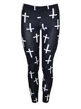 New Women's Upside Down Cross Print Full Length Leggings Ladies godmother gifts