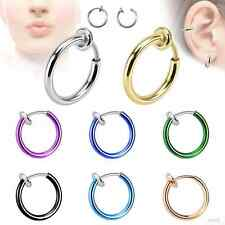 1Pc Unisex Spring Non-Piercing Fake Septum Nose Lip Belly Ear Ring Hoop Clip On