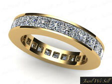 3.90Ct Princess Cut Diamond Channel Eternity Band Wedding Ring 14K Gold G SI1