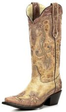 Corral Ladies Leather Cowboy Western Boots Antique Saddle/Cognac Overlay G1201
