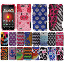For Motorola Droid 4 XT894 Zig Zag Bling Crystal Stone Hard Case Cover Accessory