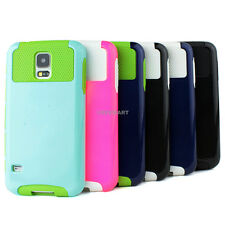For Samsung Galaxy S5 Hybrid Rugged Rubber Matte Hard Case+Tempered Glass Screen