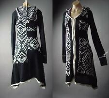 Hooded Folk Tribal Goth Long Sweater Robe Cloak Duster Jacket 158 mv Sweatercoat