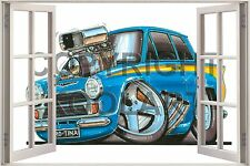 Huge 3D Koolart Window view Ford Cortina 'Supercharged' Wall Sticker Poster 890