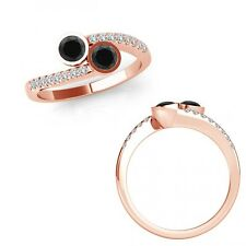 0.75 Carat Black Diamond 2 Two Stone By Pass Bezel Solitaire Ring 14K Rose Gold