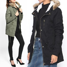 TheMogan Faux Fur Lined Parka Hooded Sherpa Drawstring Anorak Utility Jacket