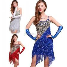 Latin Dance Dress Ballroom Glitter Sequins Fringe Tassel Latin Dance Costume G32