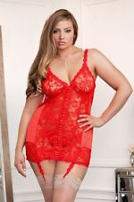 Women's Sexy Lingerie Satin Floral Lace Open Back Mini Skirt Chemise Dress 7670