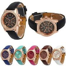 Hot Geneva Women Crystal Rhinestone Faux Leather Watch Analog Quartz Wrist Watch