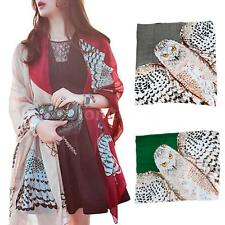 Women Lady Owl Print Scarf Neck Warm Soft Stole Wrap Shawl Pashmina 3Colors U7N9