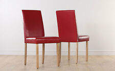 2 4 6 8 City Red Leather Dining Room Chairs Oak Leg