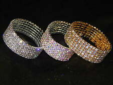 WEDDING BRIDAL 6 ROW RHINESTONE STRETCH BRACELET BANGLE CUFF GOLD / AB OR SILVER