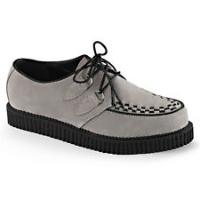 "Demonia Creeper 602 Gray Suede 1"" Oxford Comfort Shoe Men Sizes 4-13"