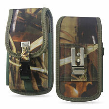 REIKO Heavy Duty Camouflage Canvas Case Pouch Metal Clip Belt Loop for Phones