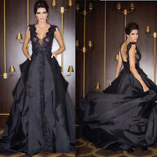 Straps Taffeta Black Lace Formal Long Ball Gown Prom Party Evening Dress Custom