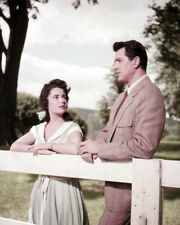 ROCK HUDSON, ELIZABETH TAYLOR GIANT RARE SHOT BY FENCE PHOTO OR POSTER