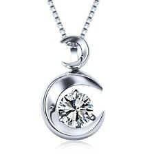 """18"""" Chain Sterling Silver Cubic Zirconia Moon Love Pendant Necklace Gift Box L8"""