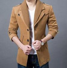 Fashion mens slim lapel trench jacket Business Casual wool warm parka coat new