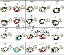 1 set Multi-color Magnetic Closure watch Locket with Wrap Bracelet + 10 charms