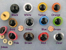 11 PAIR MIX COLOR 27 to 34mm Large Plastic Safety EYES Teddy Bears, Puppets PE-1