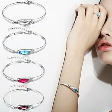 Exquisite Crystal Bracelet Bangle Glass Charm White Gold Plated Jewelry Gift New