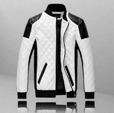 Fashion Mens Stand Collar slim  Zip Motorcycle pu leather  Jacket Outwear Coat