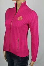Ralph Lauren Pink Cable Knit Full Zip Sweater Gold Crest NWT