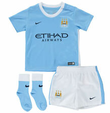 BABY NIKE MANCHESTER CITY FOOTBALL / SOCCER OUTFIT 2015 KIT SHORTS JERSEY SHIRT