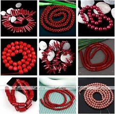 Red Sea Coral Gemstone Rondelle Round Ball Flower Loose Beads Jewelry Making