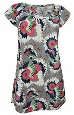 New White Stuff Cotton Grey Pink Floral Print Tunic Top 8 10 12 14 16
