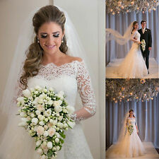 Off the shoulder Bridal Gown Long Sleeves Wedding Dresses Size 6-16 or Custom