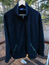 Patagonia Synchilla Mens L Black Nubby Fleece Front Zip Jacket Coat Made in USA