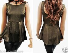 LADIES WOMANS SEXY PEPLUM SKATER EVENING GLITTER SPARKLE SHIMMER PARTY GOLD TOP
