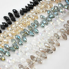 """Crystal Faceted Teardrop Beads 9"""", crystal,black,green,lt.smoky,smoky,pick color"""