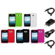 Silicone Rubber Color Gel Skin Case for LG Optimus Elite LS696 Phone 2X Chargers