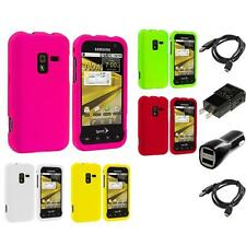 Color Hard Snap-On Rubberized Case 2X Chargers for Samsung Conquer 4G D600