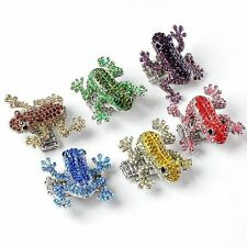 Colorful Frog Rhinestone Crystal Bead Cocktail Elastic Stretch Finger Ring Gift
