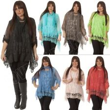 Womens Italian Lagenlook Quirky 2 Piece Mesh Net 3D Flower Lace Top Tunic Blouse
