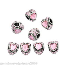 Wholesale Lots European Beads Pink Rhinestone Love Heart Fit Charm Bracelets