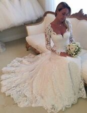New Long Sleeves White/Ivory Lace Wedding Dresses Bridal Dress Gown Custom Size