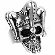 Mens Gothic Punk Funny Clown Skull Skeleton Biker Ring Stainless Steel Size 7-12