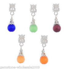 Wholesale Lots Mixed Cat'sEye Glass Dangle Beads Fit Charm Bracelet