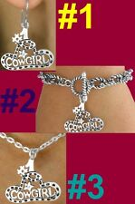 Western #1 COWGIRL Necklace Bracelet Barrel Horse Rodeo Cowboy Hat Bronc Jewelry